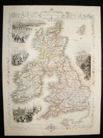 British Isles: 1852 Antique Map. Decorative. Tallis Rapkin